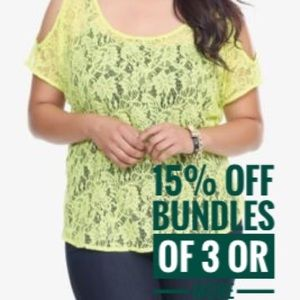 Torrid lime green neon lace cold shoulder top